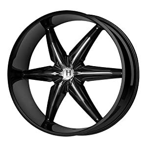 """Helo HE866 Gloss Black Wheel with Chrome Accents (22x9.5""""/6x135mm)"""
