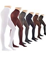 Women's 80 Denier Semi Opaque Solid Color Footed Pantyhose Tights 2Pair or 6Pair