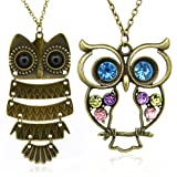 2 Pcs Mixed Vintage Alloy Owl Pendant Necklace Long Pattern Necklace Coat Chain, Gift Idea for Lady Girl Christmas Gift