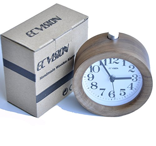 Find Bargain ECVISION Handmade Classic Small Round Silent table Snooze Wood Alarm Clock with nightli...