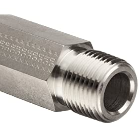 Parker Stainless Steel 316 Pipe Fitting, Hex Long Nipple, NPT Male X NPT Male