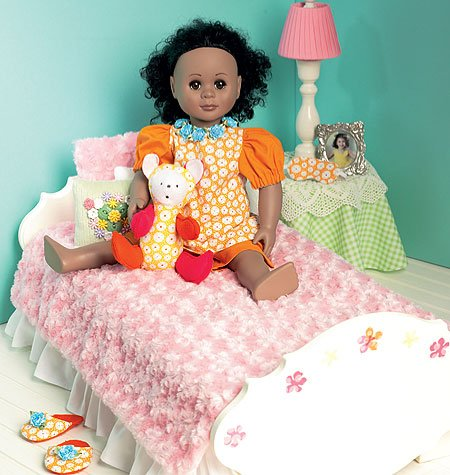 Mccall Patterns M6718 Bed Mattress And Bedding Ensemble For 18-Inch Doll, Table Skirt, Lamp And Night Stand Sewing Template, One Size Only front-74543