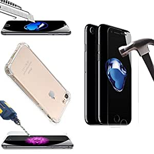 """iPhone7 Cover, iPhone 7 Protective Case with Tempered Glass Screen Protector, Shockproof Clear Bumper, TPU Shell For Apple iPhone7 by BOONIX [4.7"""" iPhone7 Case and Glass Screen Protector]"""