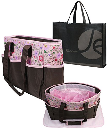 JAVOedge Dual Color Floral Fabric Over the Shoulder Diaper Bag with 8 Inner + Outer Pockets and Bonus Tote Storage Bag - 1