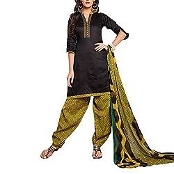 Destiny Enterprise Cotton Unstitched Black and Olive Color Patiyala Suit Dress Material for Women