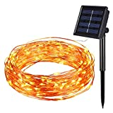 Amir Solar Powered String Lights, 100 LED Christmas Lights, Starry String Lights, Copper Wire Lights Ambiance Lighting for Outdoor, Gardens, Home, Dancing, Christmas Party (Warm White)