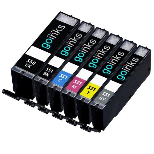 1 Kompatibel Set von 6 Tintenpatronen zu ersetzen PGI-550 & CLI-551 (6 Tinten) - Schwarz / Cyan / Magenta / Gelb / Grau für den einsatz in Canon Pixma iP8750, MG6350, MG7150, MG7550, MX925