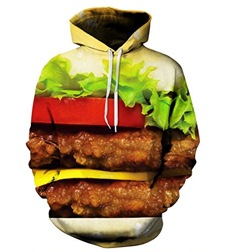 LoveLiness Unisex Hamburger Printed Pockets Drawstring Hoodie Sweatshirt