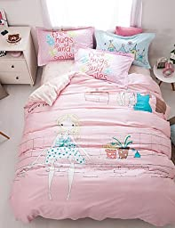 ZQ Fashion personality style Little girl print duvet cover Sets 100% Cotton Bedding Set Queen/Double/Full Size , queen