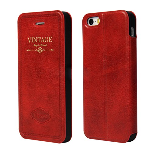 Moon Monkey Retro Luxury Stand Function Slim Classic Protective Case For Iphone 5S 5 (Mm412) (Red)