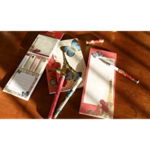 Ana Grace Collection Stationary Set of 6 Notepads & Pens Shabby Chic butterfly, Floral, Eiffel Tower Designs