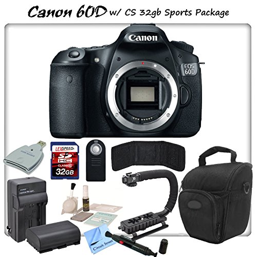 Canon Eos 60D Digital Slr Camera Body With Cs Sports Package: Includes High Speed 32Gb Sdhc Memory Card, Sd Card Reader, Memory Card Wallet, Holster Case, Canon Lpe6 Replacement Battery, Rapid Travel Charger, Stabilizing Handle/Grip Kit, Remote Shutter Re