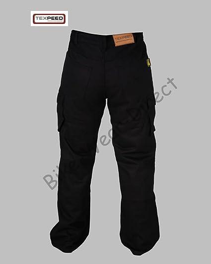 Pantalons Hommes 6 poche Kevlar noir de moto