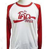 (ノーブランド品) ロングスリーブTシャツ 長袖 ロンT Thai COCA(タイコカ)(ホワイト×レッド)  (Lサイズ) [並行輸入品]