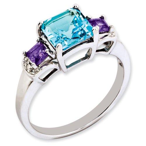 Sterling Silver London Blue Topaz, Amethyst & Diamond Ring