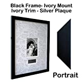 Personalised Wedding Guest Book Frame - BLACK - Contemporary alternative to the traditional guest book (Ivory-Ivory-Portrait)