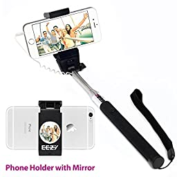 EEZ-Y M101 Extendable Wired Selfie Stick with Professional Phone Holder and Integrated Mirror for iphone and Android Smartphones