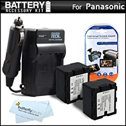 2 Pack Battery And Charger Kit For Panasonic HC-X920, HC-X920M, HC-X900M, HC-X900, HC-X800 Camcorder Includes 2 Extended Replacement (1500Mah) VW-VBN130 Batteries + Ac/Dc Travel Charger + LCD Screen Protectors + MicroFiber Cleaning Cloth