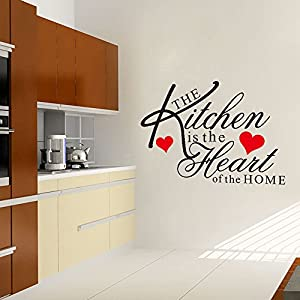 """The Kitchen is the heart of the home"" Removable Kinchen Room Wall Decals Decor by Mustbe"