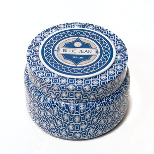 Capri Blue Printed Travel Tin - Blue Jean No26 - Fragrance Anthropologie Candle Girlfriend CB-530-BJE capri