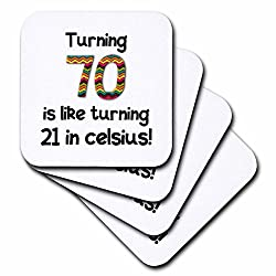 3dRose cst_184965_3 Turning 70 is Like Turning 21 in Celsius Humorous 70th Birthday Gift Ceramic Tile Coaster (Set of 4)