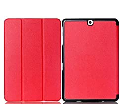 SPL Premium PU Leather Book Stand Cover for Samsung Galaxy Tab A 9.7-inch T550,T555 -Red