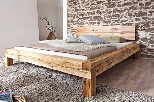 Bett-Doppelbett-Balkenbett-Wildeiche-massiv-Schlafzimmer-Balken-rustikal-180x200