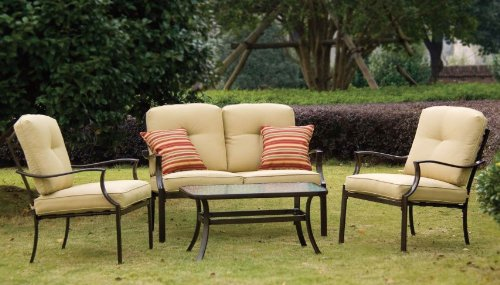 Black friday 4pc outdoor patio deep seating set with for Deep seat patio cushions sale