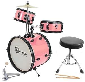 pink drum set complete junior kid 39 s children 39 s size with cymbal stool sticks. Black Bedroom Furniture Sets. Home Design Ideas