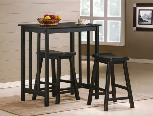 get 3 piece black finish table saddle bar stool set kitchen 24