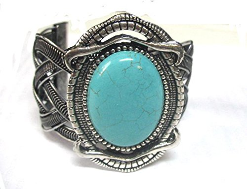 Wide And Bold Southwest Antique Cuff Bracelet Oval Cabachon With Simulated Turquoise Color Inlay