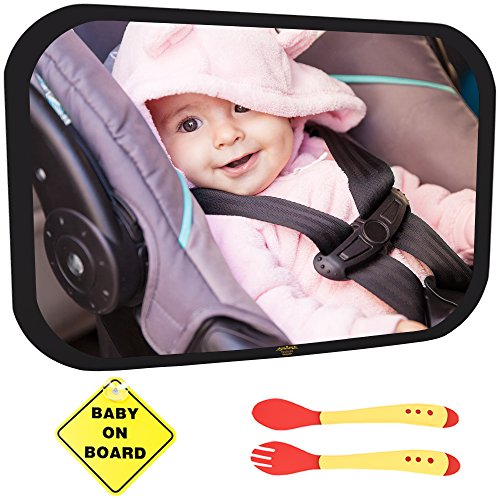 Baby Car Mirror Bundle - Improved Shatterproof Glass - Premium Back Seat Mirror - The Clearest & Largest - Fully Assembled & Adjustable - Crash-tested -Baby Mirror for Car Rear-Facing Infant and Sight (Spoon Attachment For Baby Food compare prices)