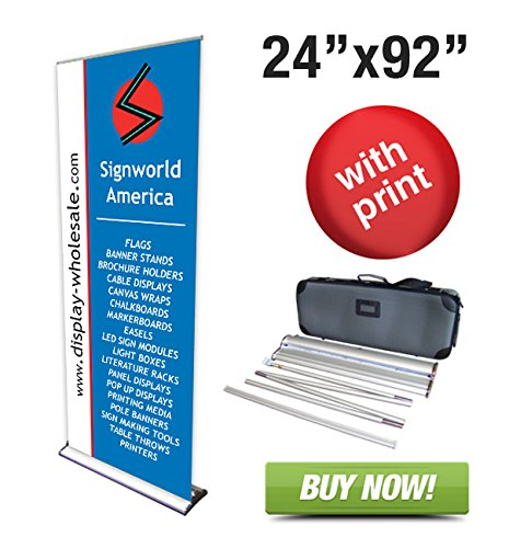 """Signworld 24"""" Hd Retractable Roll Up Banner Stand Trade Show Display With Vinyl Print Included 24"""" X 92"""""""