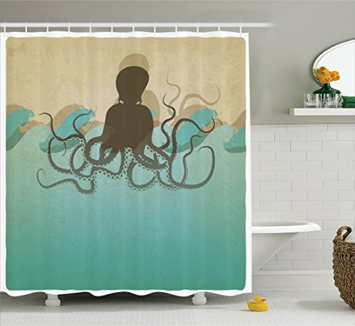 ambesonne-octopus-decor-collection-vintage-style-marine-background-and-octopus-with-tentacles-in-wav