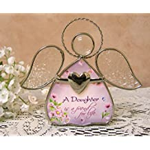 Daughter Gifts - Glass Angel Tea Light Candle Holder - A Daughter Is A Friend For Life Printed On The Angels Dress...