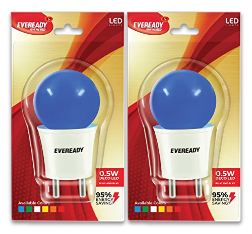 0.5W Deco Plug and Play T-type LED Bulb (Blue, Pack of 2)