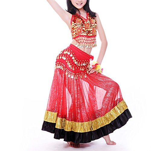 BellyLady Kids Belly Dance Tribal Gypsy Egyptian Skirt, Halloween Costume