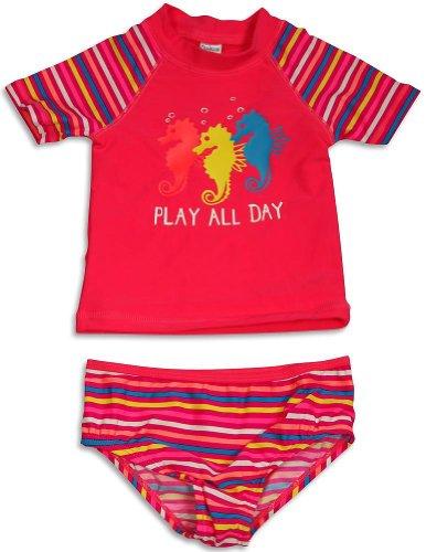 Osh Kosh B'Gosh - Baby Girls 2 Piece Rashguard Rash Guard Seahorse Swimsuit Set, Pink Salmon, Multi 31632-12Months