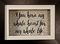 You Have My Whole Heart For My Whole Life Wedding Inspirational Quote Upcycled Vintage Book Page 6x8 Framed Art Shadow Box
