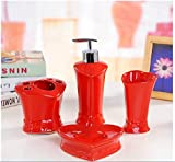 Bathroom Accessory Sets - Romantic red heart-shaped ceramic bathroom four-pieces set / personal wash suits / wedding Toiletries