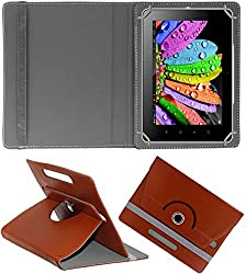 DMP 360 Degree Rotating Leather Flip Case Book Cover With Stand For Zomo Sprint Max 4 GB - Brown