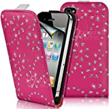 Supergets Rosa Hülle für Apple iPhone 4 / 4S Blingbling Pialletten Geblümtmuster Kunstledertasche Diamantiert Hülle, Displayschutzfolie