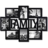 "Adeco Decorative Black Wood ""Family"" Wall Hanging Collage Picture Photo Frame, 8 Openings, 4x6"""
