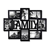Adeco PF0432 Black Wood Family Wall Hanging Collage Photo Frame, 8 Openings, 4 by 6 Inch