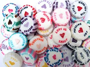 150 Assorted Wedding Favour Rock Sweets - 15 different colours, flavours and messages