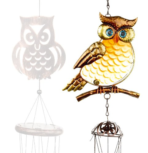 *BARGAIN* GORGEOUS OWL WIND CHIMES - MAKE YOUR GARDEN SOUND FANTASTIC! - TRANSLUCENT AND COLOURFUL