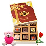 Heavenly Experience Chocolates Gift Box With Teddy And Rose - Chocholik Luxury Chocolates