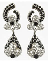 DollsofIndia Pair Of Black And White Stone Studded Dangle Earrings - Stone And Metal - Black, White