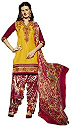 Go Traditional Women's Cotton Unstitched Dress Material (Yellow)