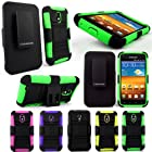 For Samsung Galaxy S2 D710 Epic 4g Touch Sprint,metropcs, US Cellular and Boost Mobile CellularvillaTM 3pc Hard and Soft Black Kickstand Case with Holster Clip. This Case Is Only for the Sprint,metropcs and Us Cellular Version Samsung Galaxy S 2 (Green Black)